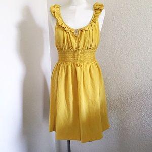 Anthropologie Floreat Mustard Yellow 💯 Silk Dress